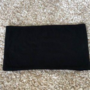Topshop Black Ribbed Strapless Bandeau Top Size 4